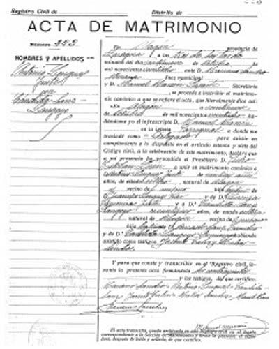 certificado de matrimonio jaén