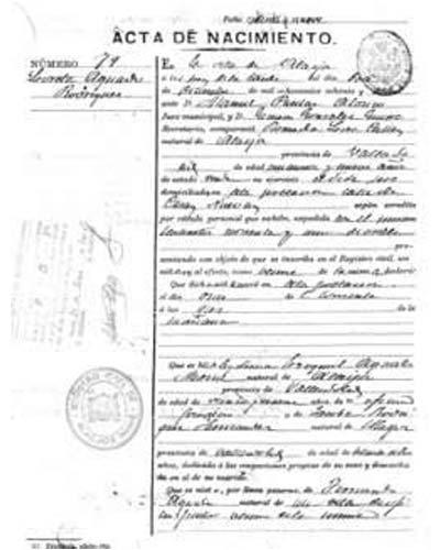 certificado de nacimiento jaen